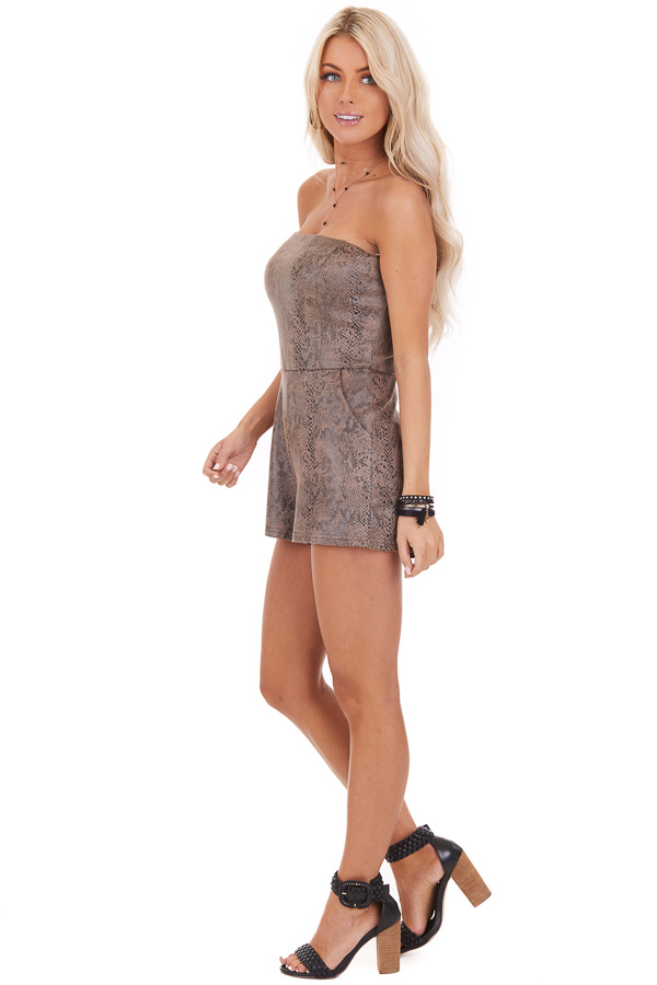 Mocha Snakeskin Faux Leather Sleeveless Romper with Pockets side full body