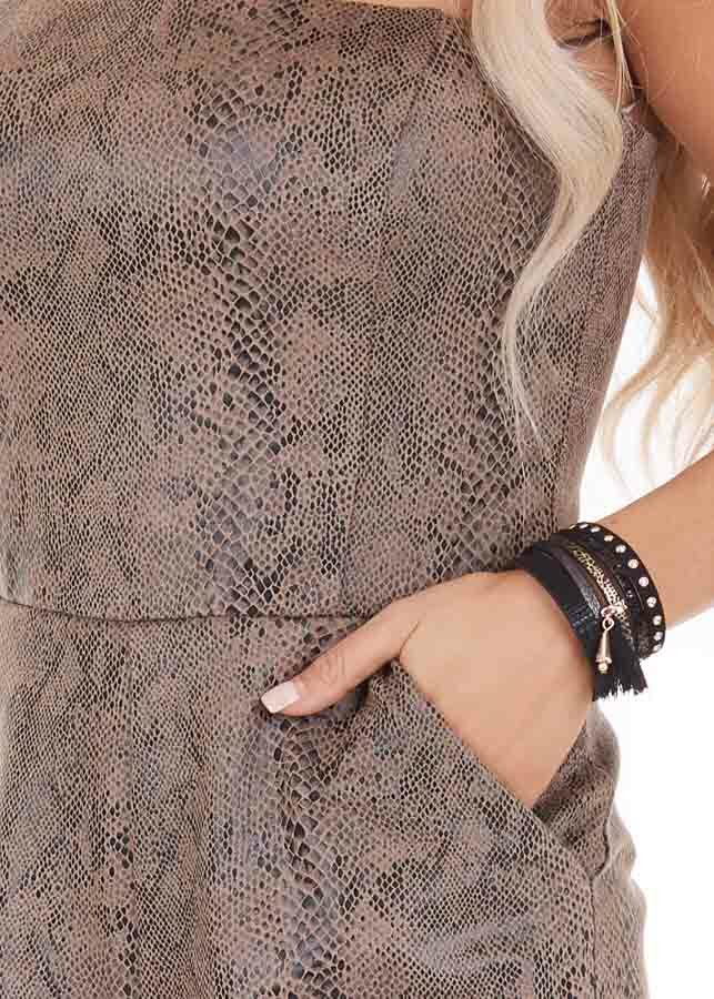 Mocha Snakeskin Faux Leather Sleeveless Romper with Pockets detail