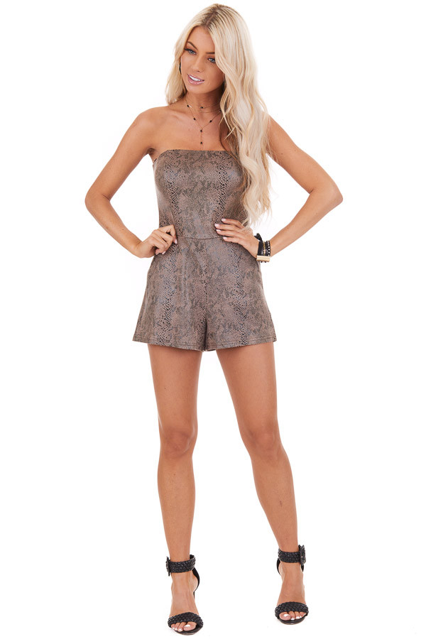 Mocha Snakeskin Faux Leather Sleeveless Romper with Pockets front full body