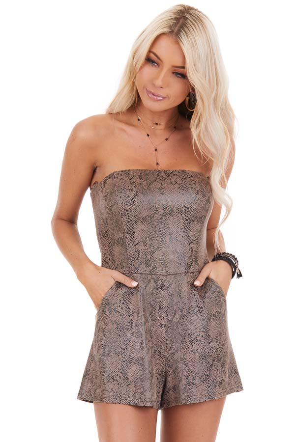 Mocha Snakeskin Faux Leather Sleeveless Romper with Pockets front close up