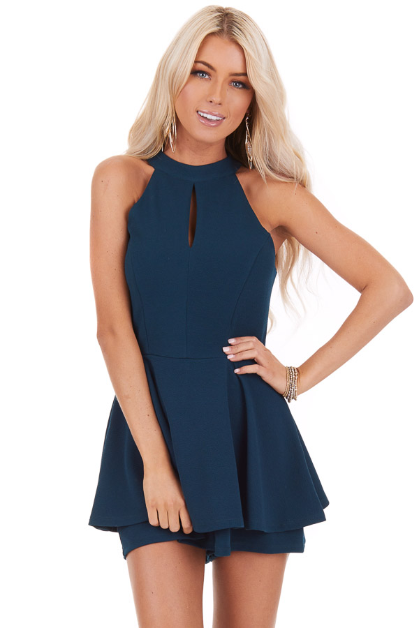 Teal Green Halter Neck Romper with Keyhole Detail and Skirt front