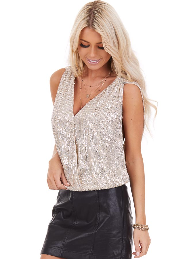 Gold Sequined Tank Top with V Neckline and Open Back Details front close up