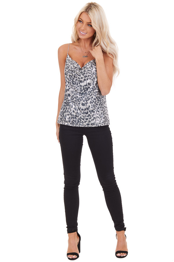 Silver Sequined Animal Print Tank Top with Draped Neckline front full body