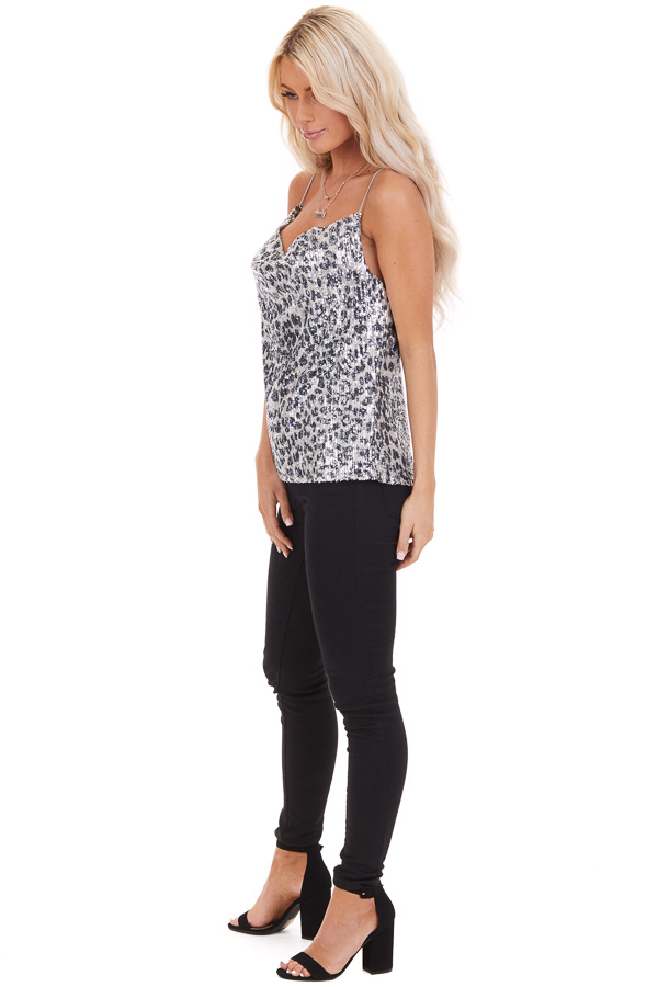 Silver Sequined Animal Print Tank Top with Draped Neckline side full body