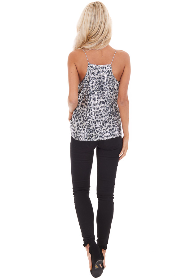 Silver Sequined Animal Print Tank Top with Draped Neckline back full body