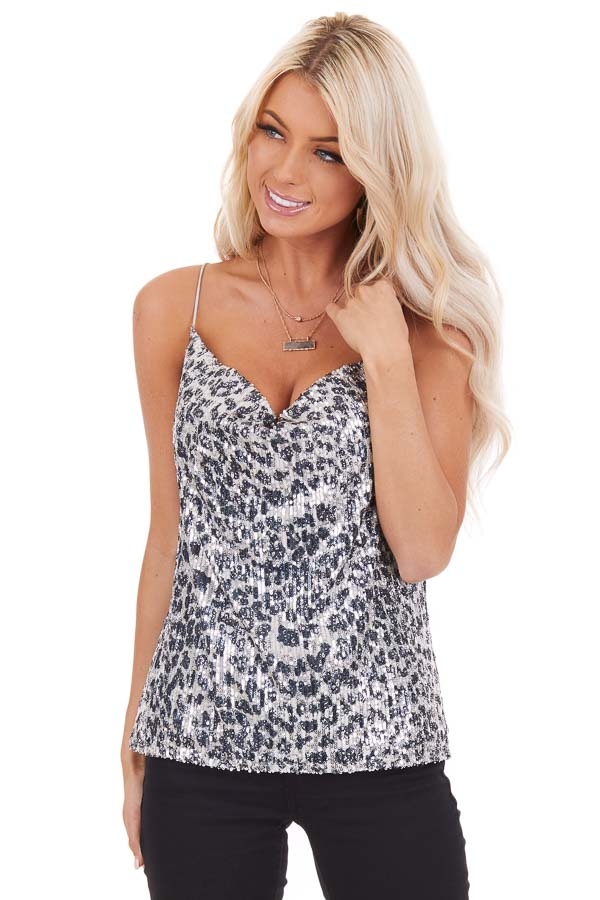 Silver Sequined Animal Print Tank Top with Draped Neckline front close up