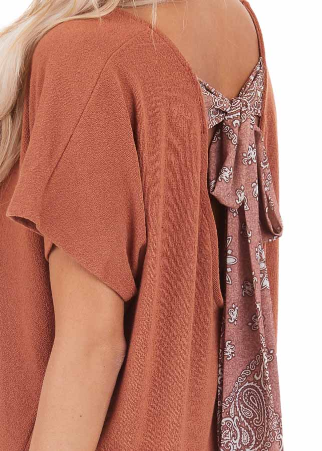 Pumpkin Short Sleeve Top with Paisley Print Back Tie Detail detail