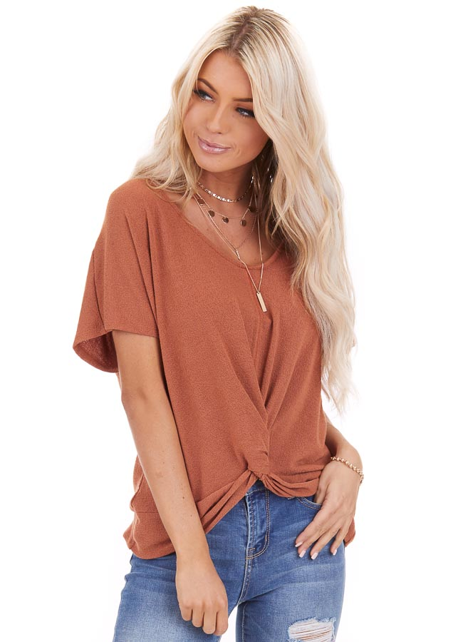 Pumpkin Short Sleeve Top with Paisley Print Back Tie Detail front close up