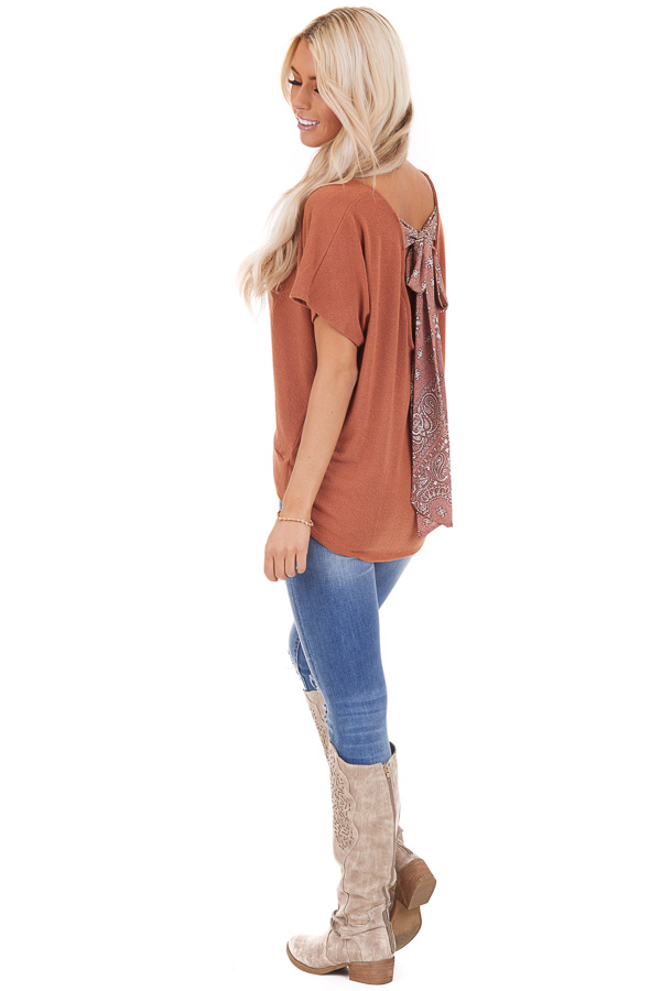 Pumpkin Short Sleeve Top with Paisley Print Back Tie Detail front full body