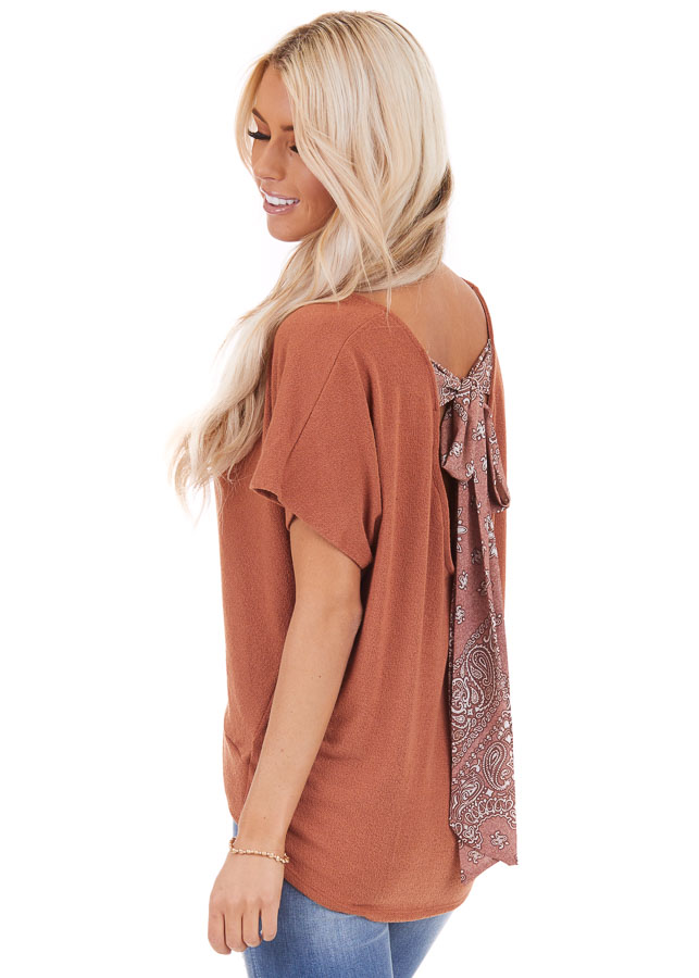 Pumpkin Short Sleeve Top with Paisley Print Back Tie Detail back side close up