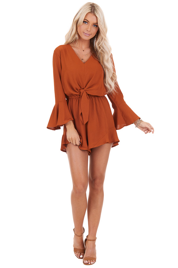 Burnt Orange Romper with Bell Sleeves and Front Tie Detail front full body