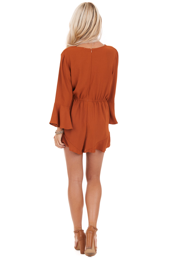 Burnt Orange Romper with Bell Sleeves and Front Tie Detail back full body