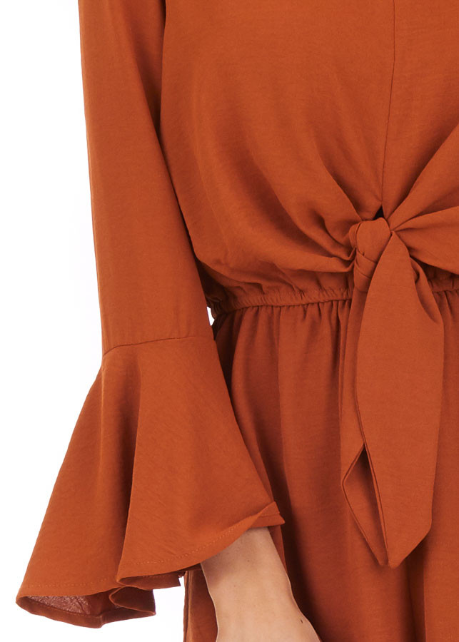 Burnt Orange Romper with Bell Sleeves and Front Tie Detail detail