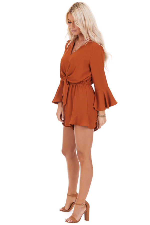 Burnt Orange Romper with Bell Sleeves and Front Tie Detail side full body