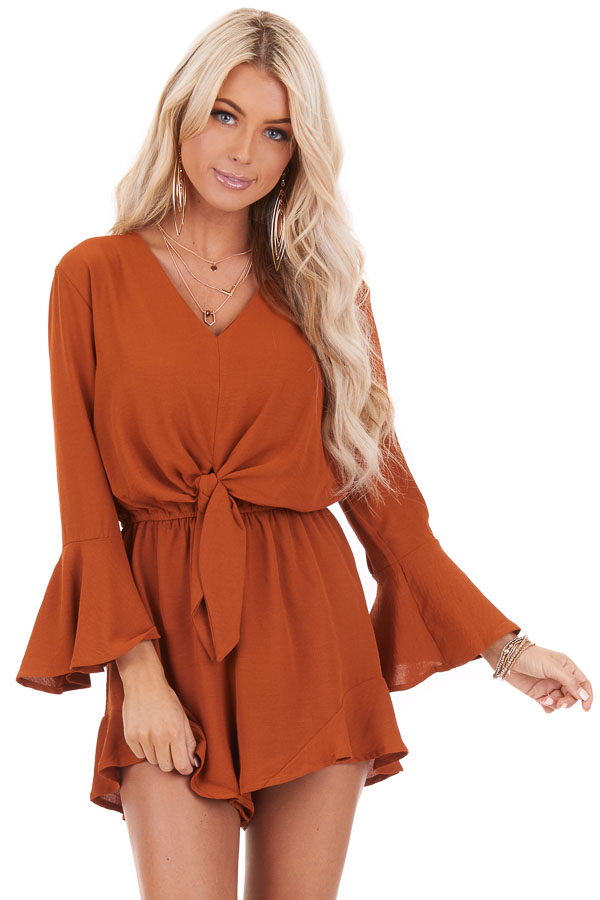 Burnt Orange Romper with Bell Sleeves and Front Tie Detail front close up