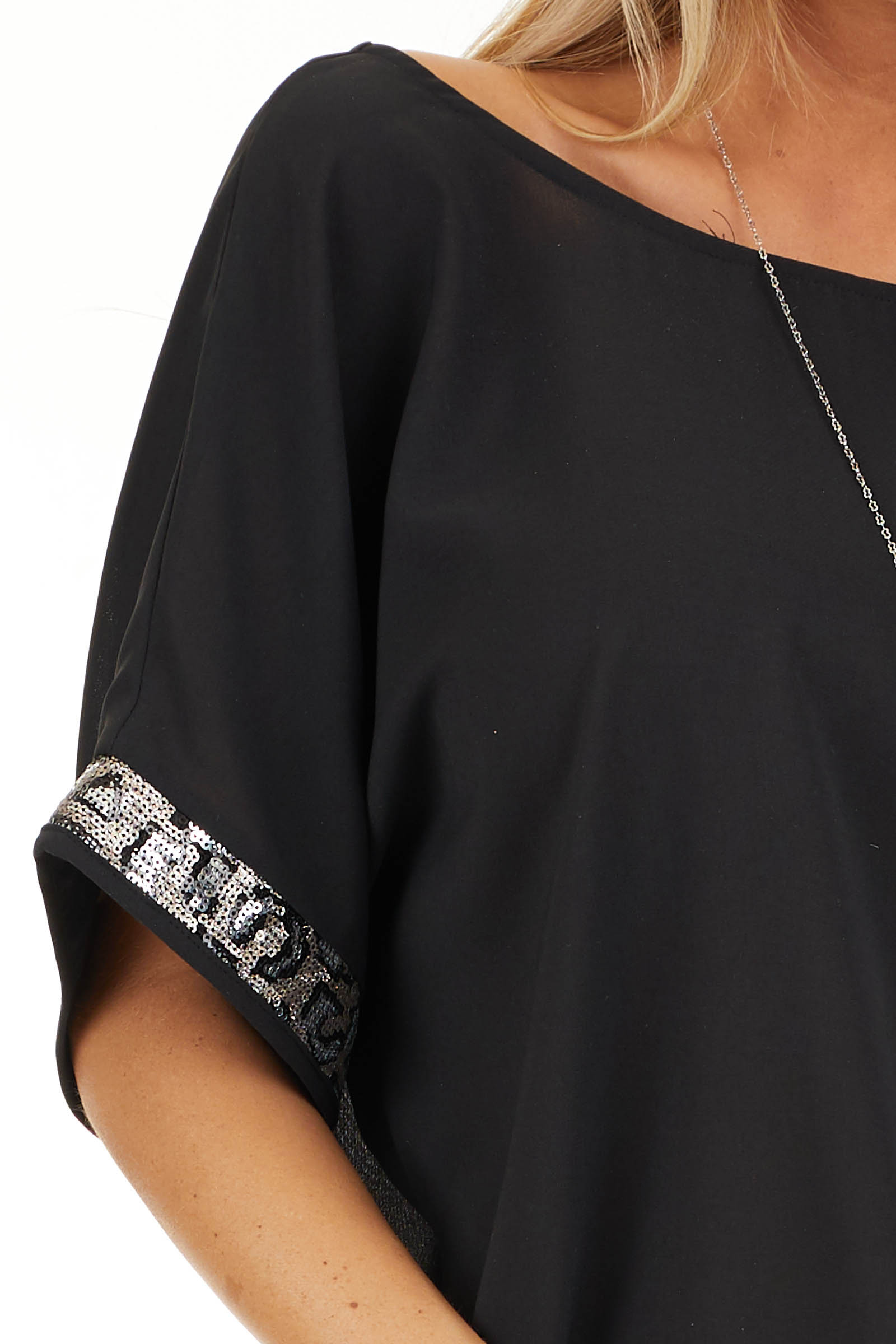 Black High Low Short Sleeve Top with Sequin Details detail