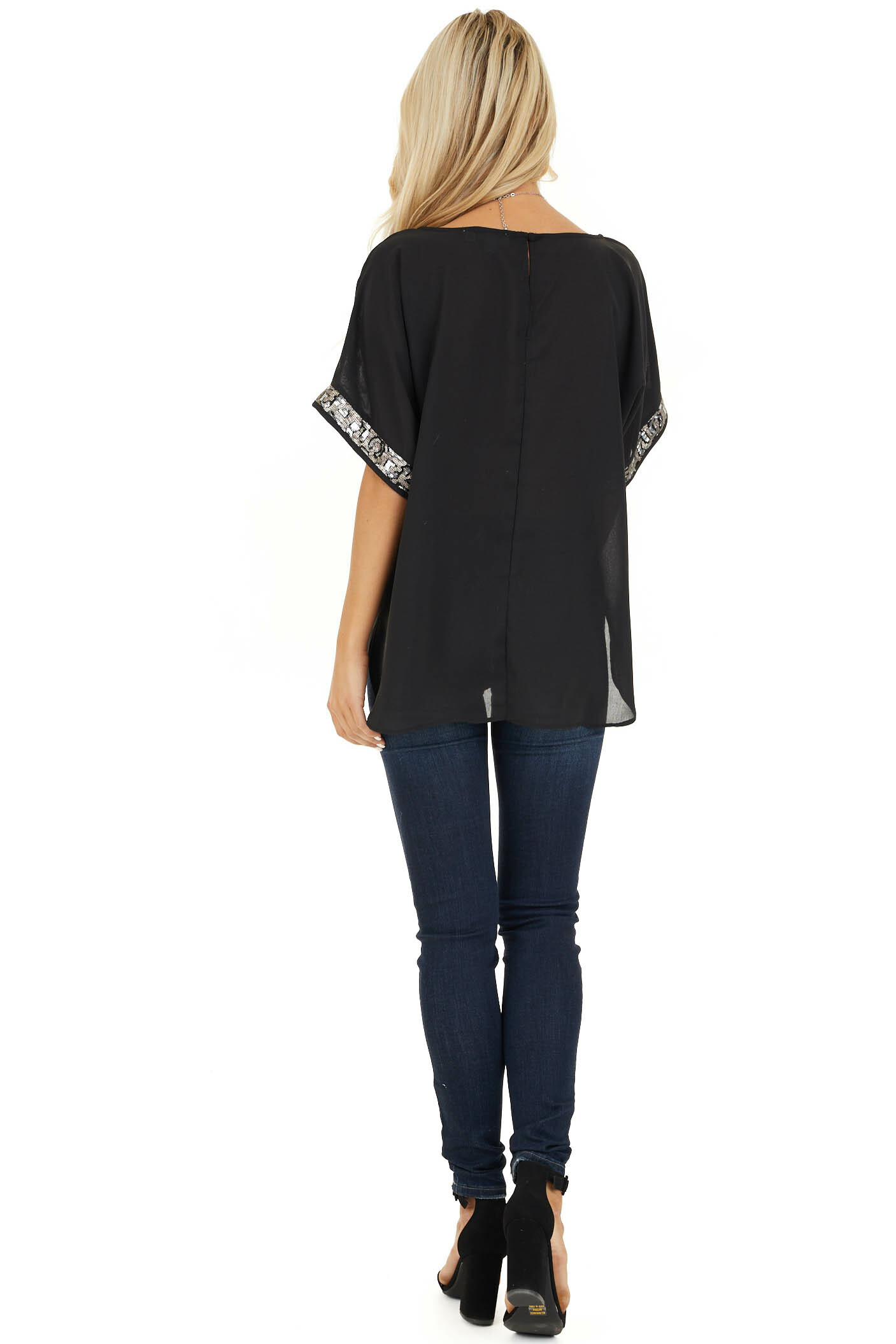 Black High Low Short Sleeve Top with Sequin Details back full body