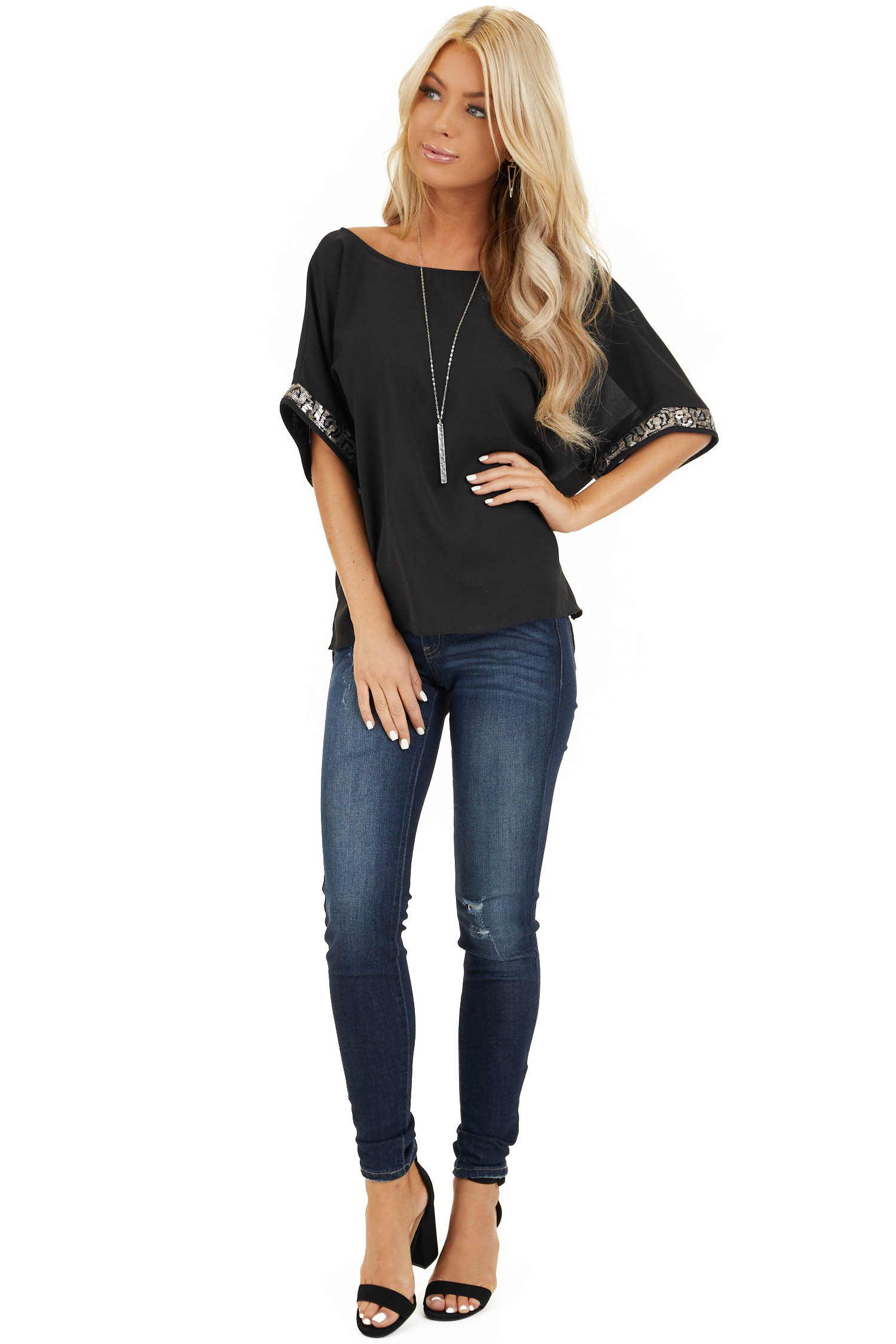 Black High Low Short Sleeve Top with Sequin Details front full body