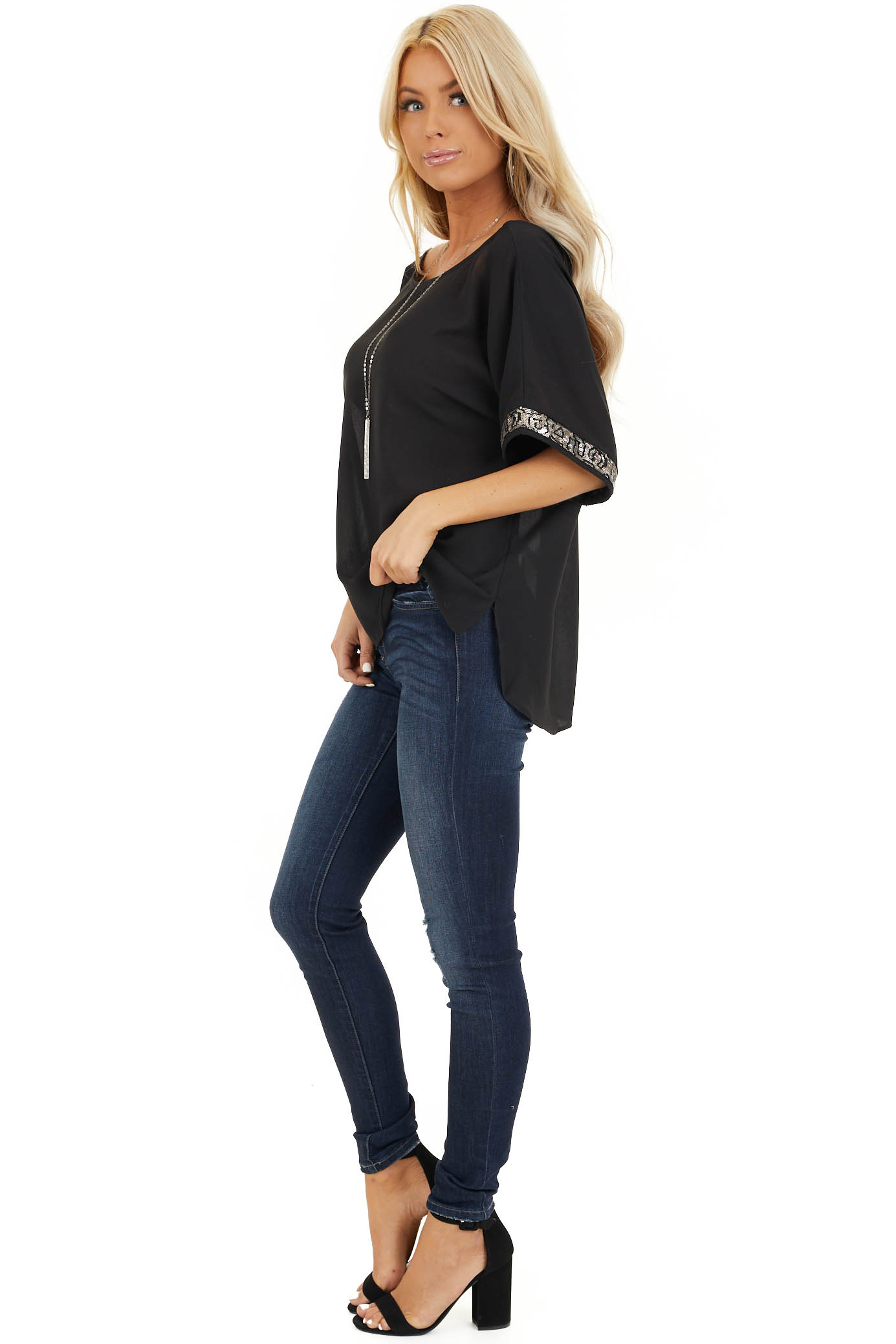 Black High Low Short Sleeve Top with Sequin Details side full body
