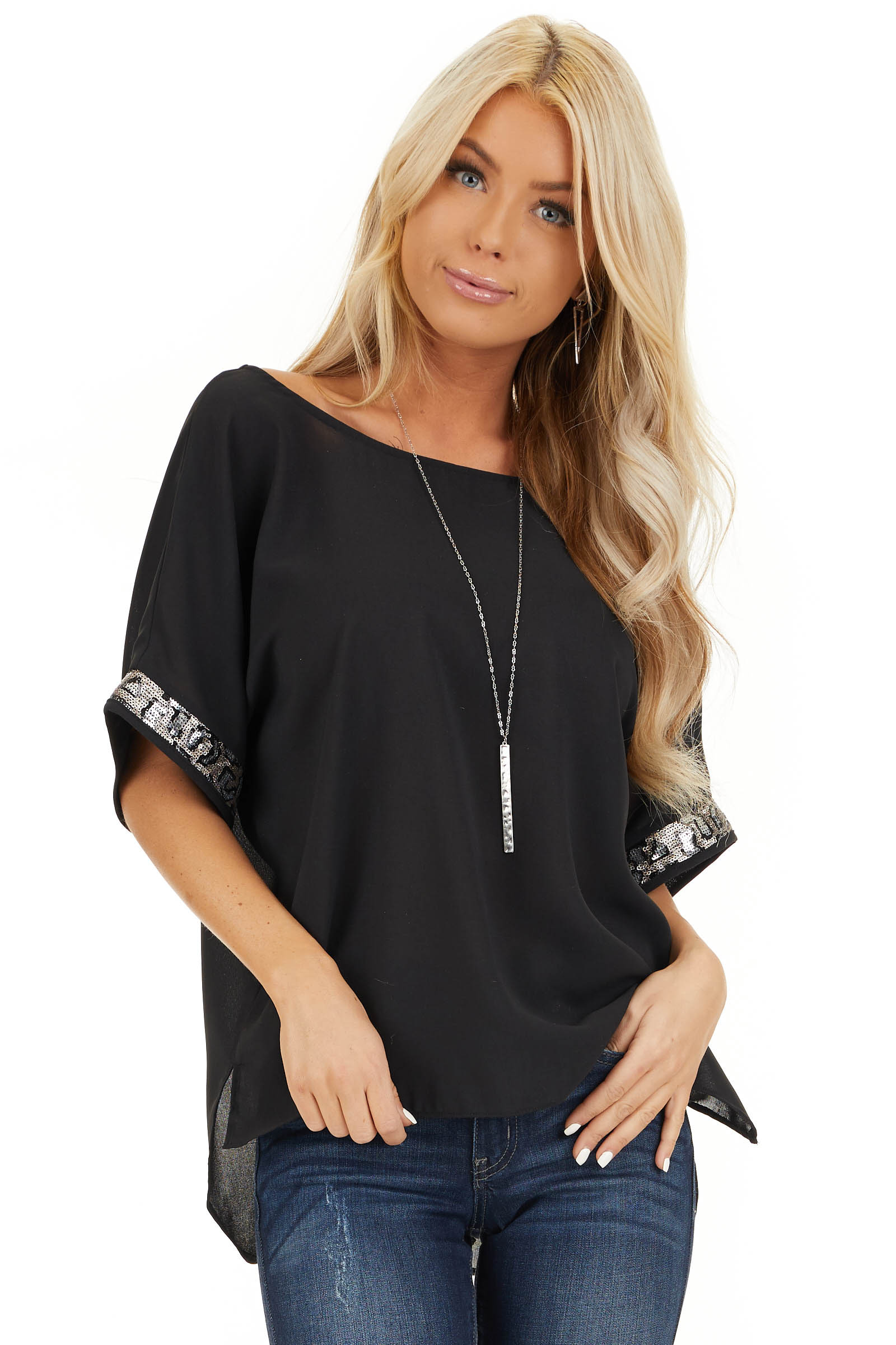 Black High Low Short Sleeve Top with Sequin Details front close up