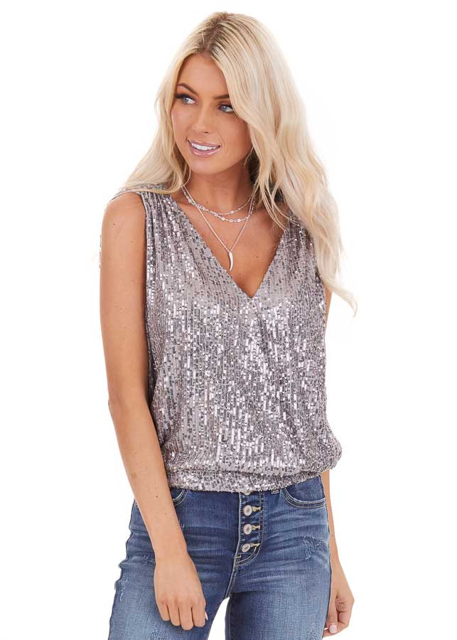 Grey Sequined Tank Top with V Neckline and Open Back Details front close up