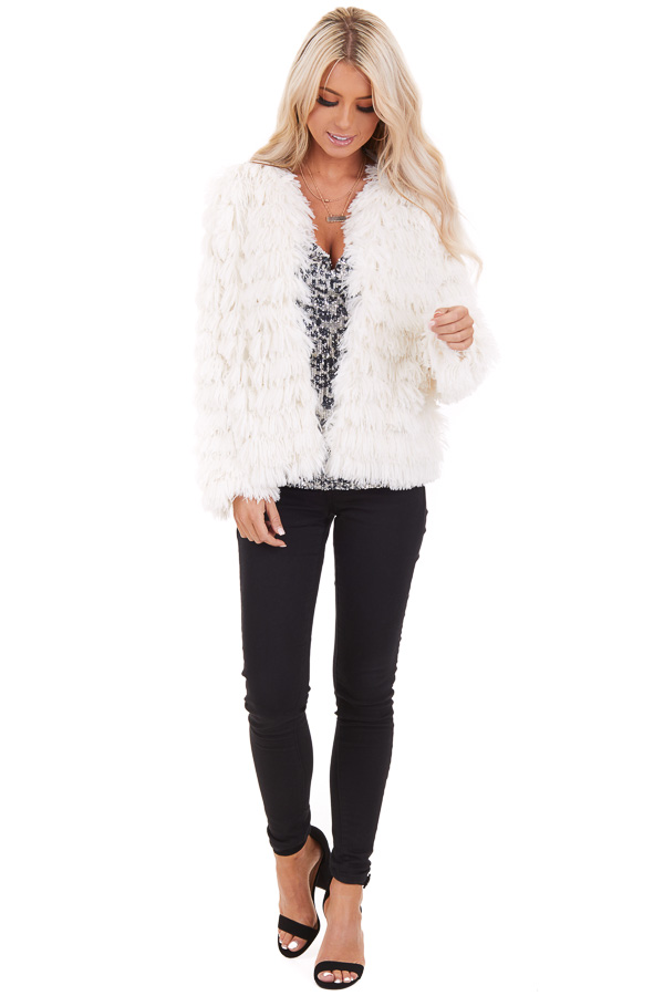 Cream Long Sleeve Super Soft Faux Fur Jacket front full body