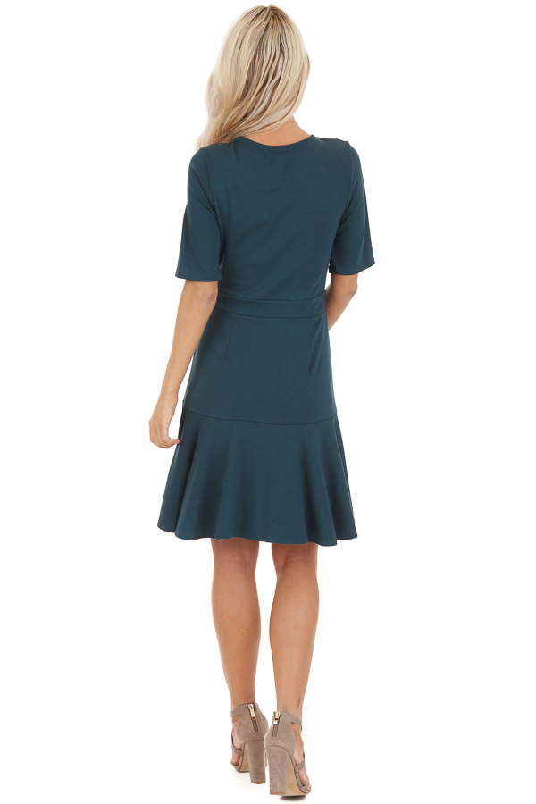 Jade Short Sleeve Knit Dress with Ruffle Bottom back full body