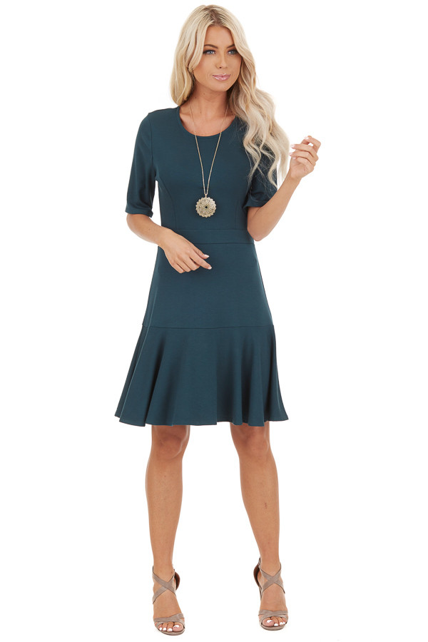 Jade Short Sleeve Knit Dress with Ruffle Bottom front full body