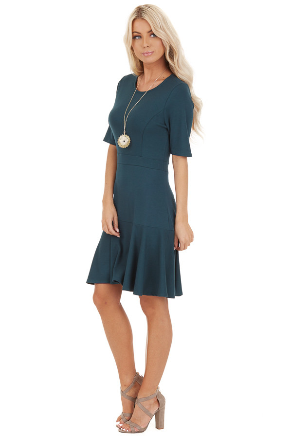 Jade Short Sleeve Knit Dress with Ruffle Bottom side full body