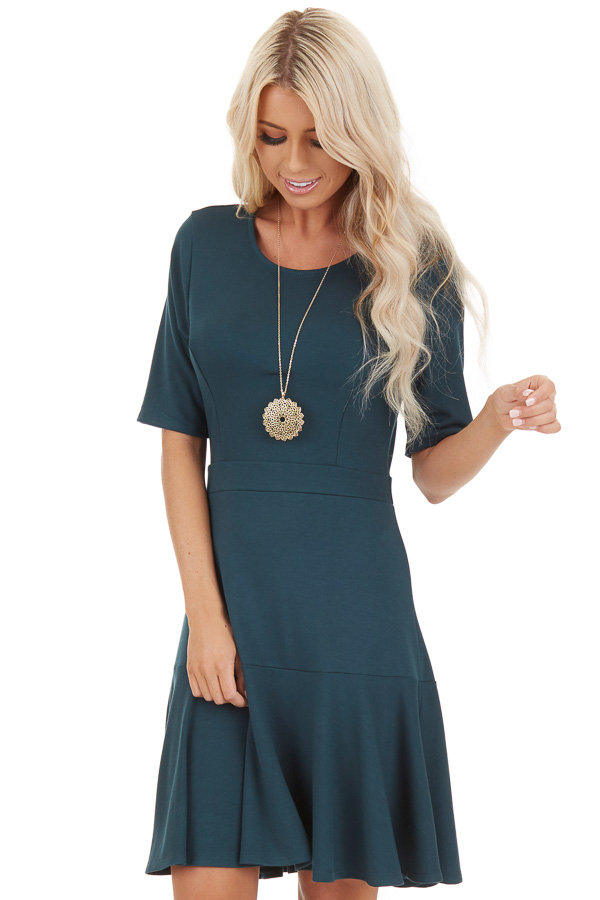 Jade Short Sleeve Knit Dress with Ruffle Bottom front close up