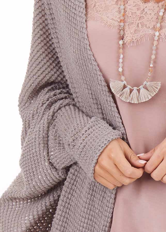 Taupe Waffle Knit Long Sleeve Cardigan with Cocoon Hem detail