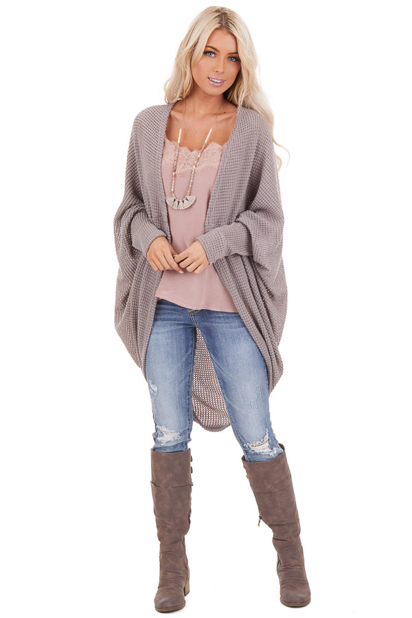 Taupe Waffle Knit Long Sleeve Cardigan with Cocoon Hem front full body