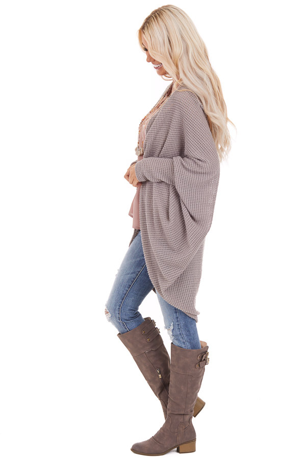Taupe Waffle Knit Long Sleeve Cardigan with Cocoon Hem side full body