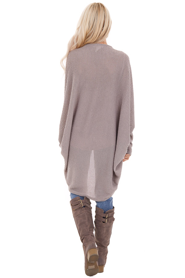 Taupe Waffle Knit Long Sleeve Cardigan with Cocoon Hem back full body