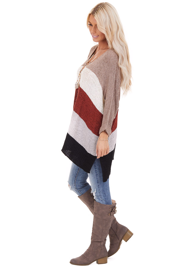 Mocha Striped 3/4 Sleeve V Neck Knit Loose Fit Sweater side full body