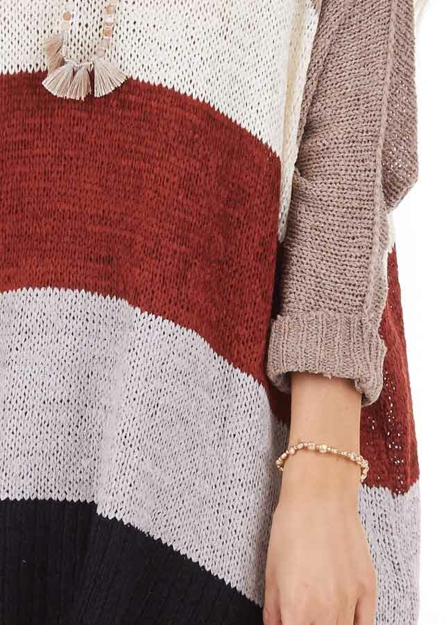 Mocha Striped 3/4 Sleeve V Neck Knit Loose Fit Sweater detail