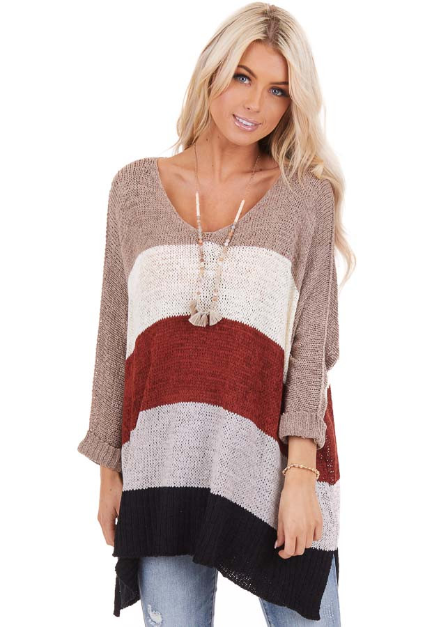 Mocha Striped 3/4 Sleeve V Neck Knit Loose Fit Sweater front close up
