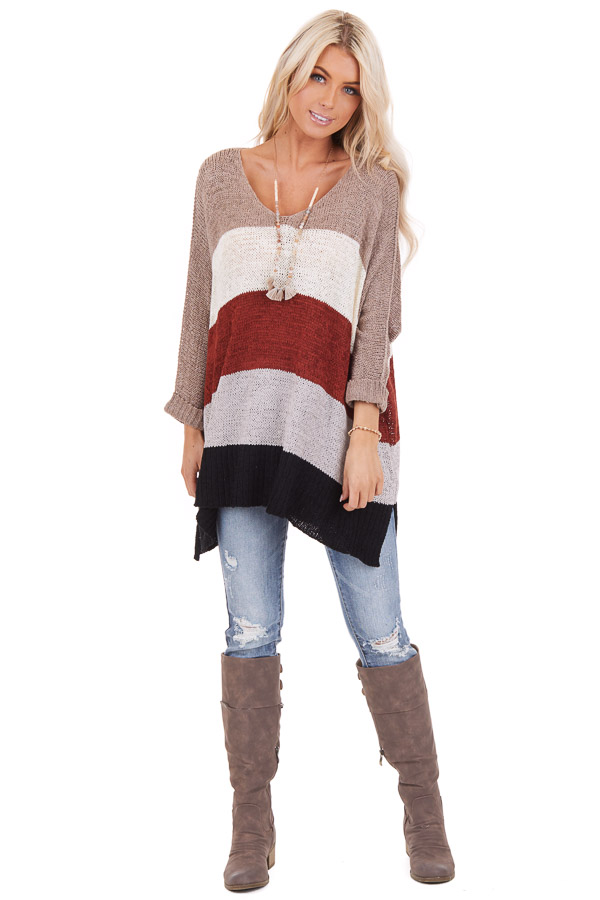 Mocha Striped 3/4 Sleeve V Neck Knit Loose Fit Sweater front full body