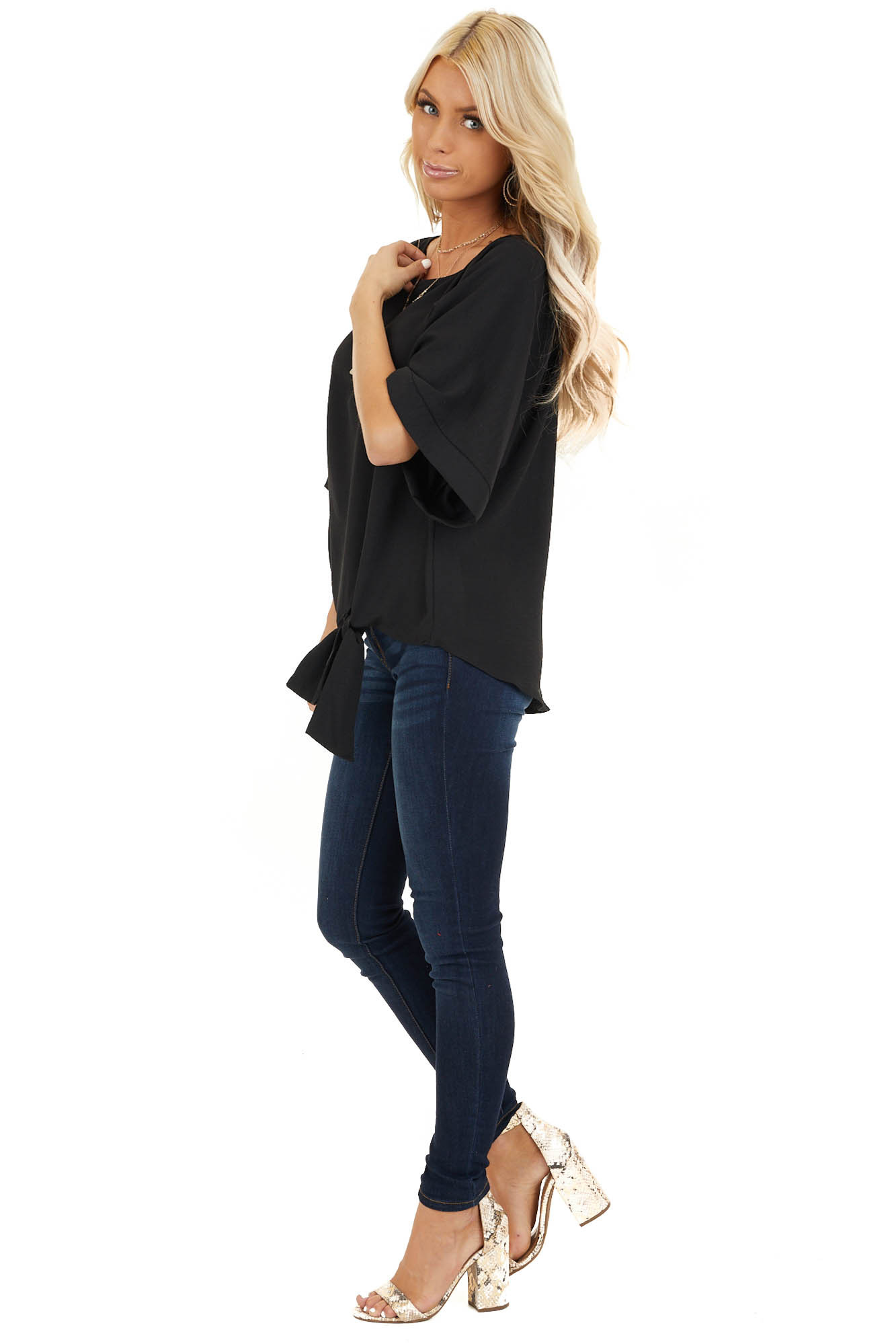 Black Top with Front Self Tie and Wide Half Sleeves side full body
