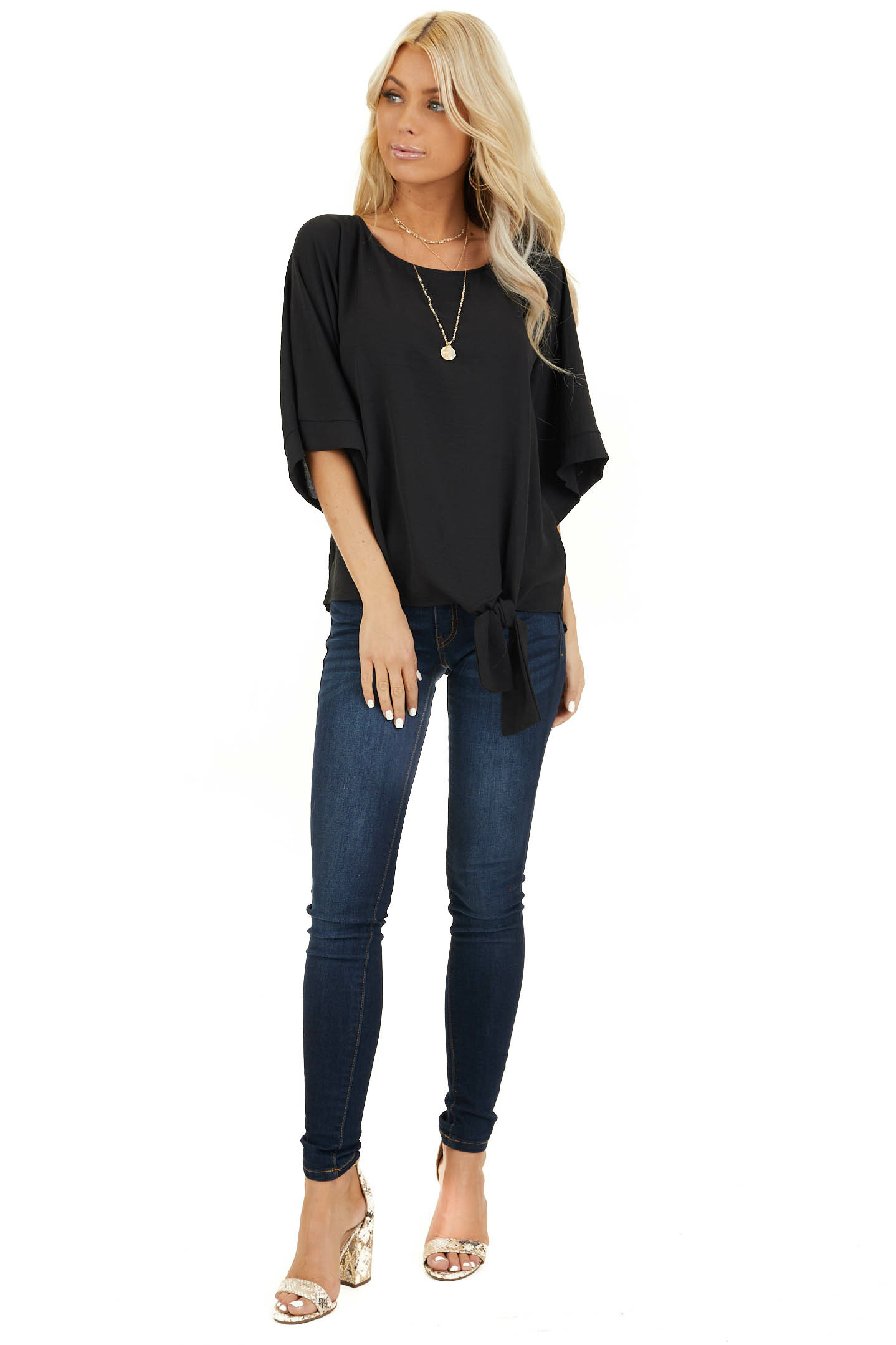 Black Top with Front Self Tie and Wide Half Sleeves front full body