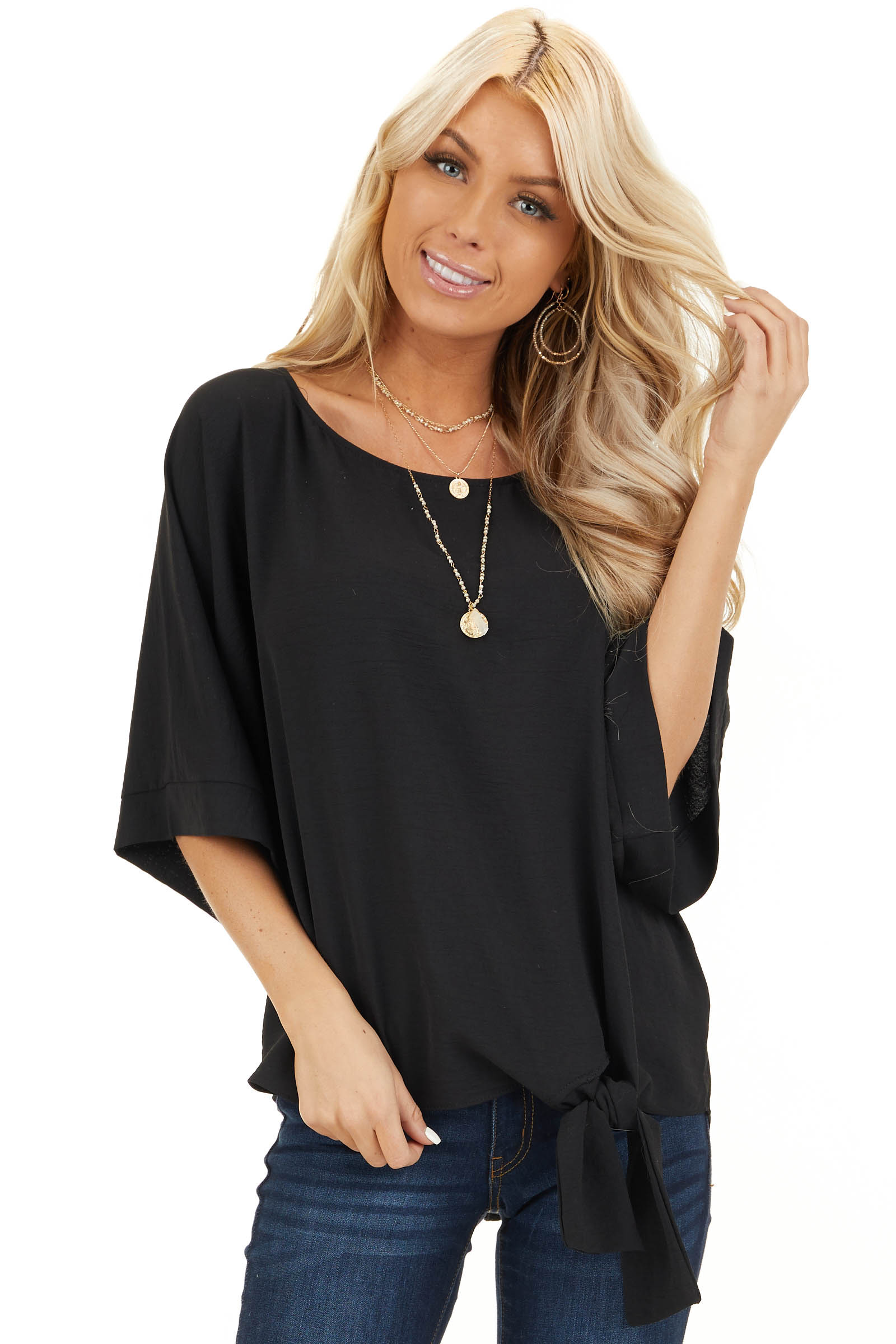 Black Top with Front Self Tie and Wide Half Sleeves front close up