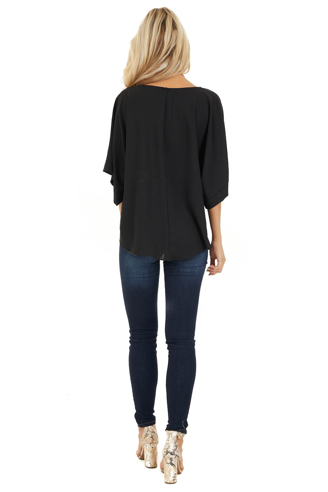 Black Top with Front Self Tie and Wide Half Sleeves back full body