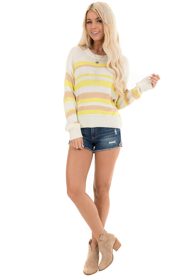 Pearl and Lemon Striped Long Sleeve Knit Sweater front full body