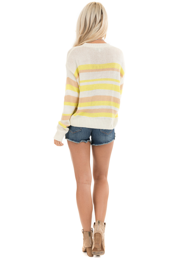 Pearl and Lemon Striped Long Sleeve Knit Sweater back full body