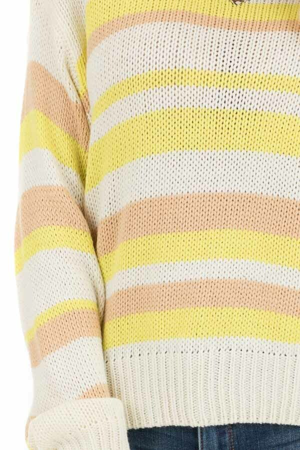 Pearl and Lemon Striped Long Sleeve Knit Sweater detail