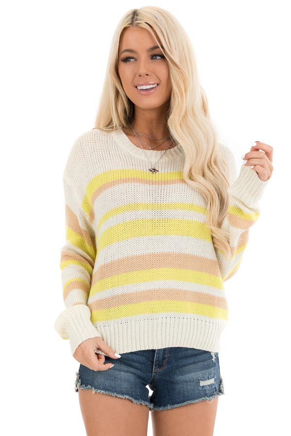 Pearl and Lemon Striped Long Sleeve Knit Sweater front close up