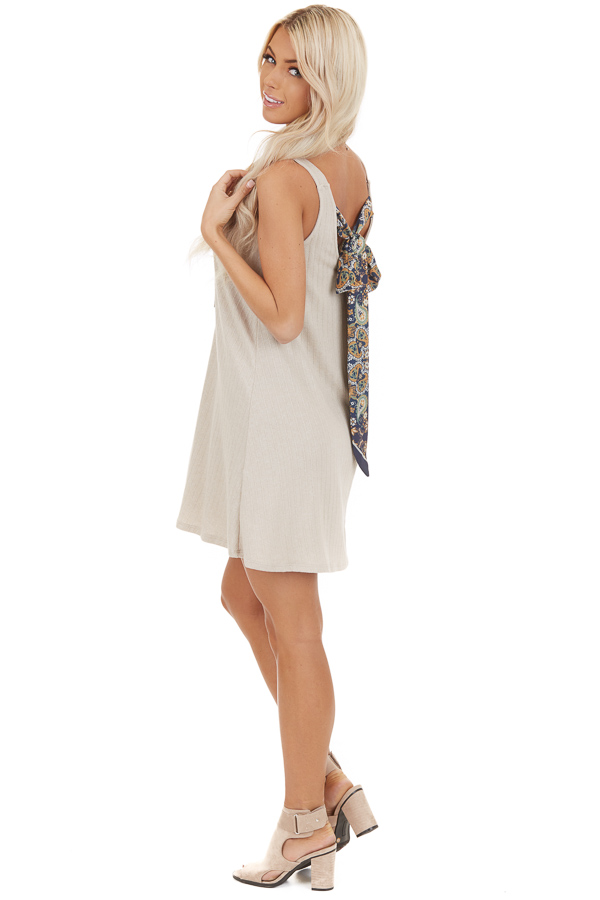 Oatmeal Sleeveless Mini Dress with Back Floral Tie side full body