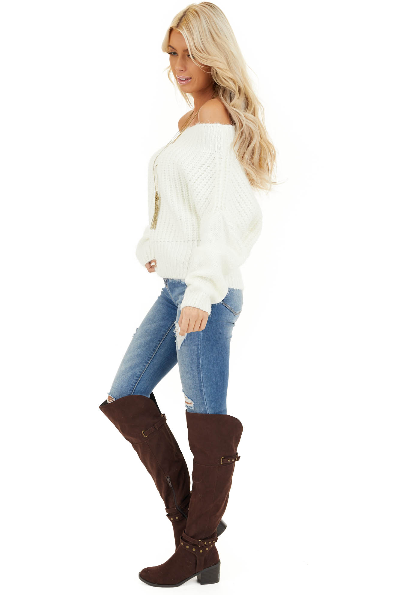 Ivory Off Shoulder Long Sleeve Knit Sweater Top side full body