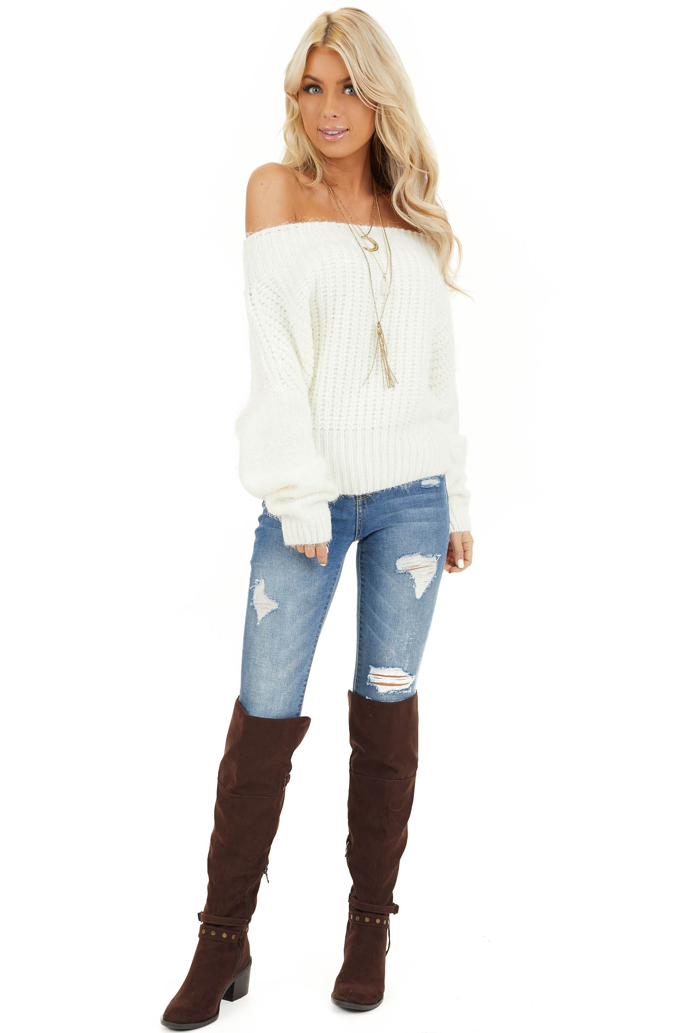 Ivory Off Shoulder Long Sleeve Knit Sweater Top front full body