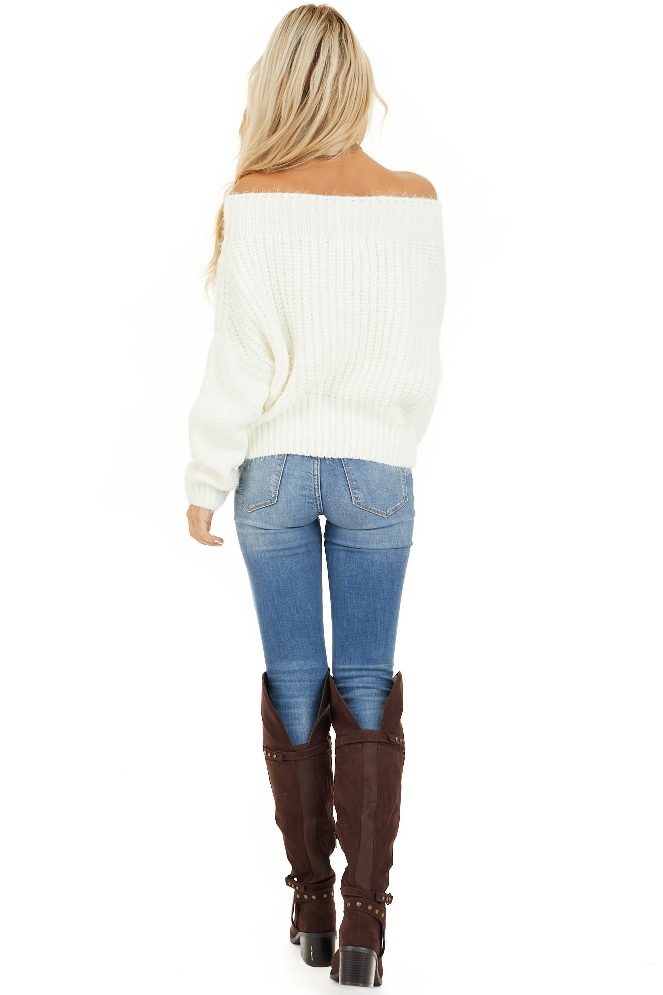 Ivory Off Shoulder Long Sleeve Knit Sweater Top back full body